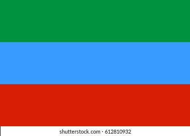 Official flag vector of Dagestan Republic, Russia, Russian federation.
