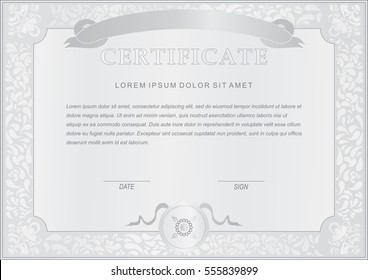 Official grey certificate. Paisley border