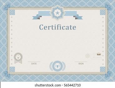 Official guilloche certificate. Blue border