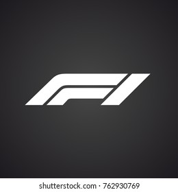 Official New Logo FIA Formula 1 Isolated on black background. Vector Illustration Red Sign F1.Vector banner new logotype FIA Formula One Group icon. Logo F1 Grand Prix icon logotype World Championship