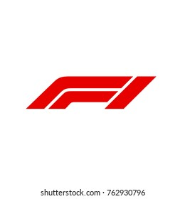 Official New Logo FIA Formula 1 Isolated white background. Vector Illustration Red Sign F1. Vector banner new logotype FIA Formula One Group icon. Logo F1 Grand Prix icon logotype World Championship.