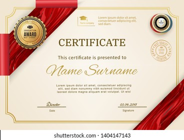 Official retro certificate with red gold design elements. Red ribbon and gold emblem. Vintage modern blank