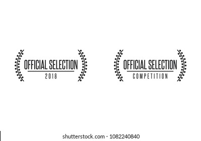 Official selection best movie nomination prize film festival winner vector icon set