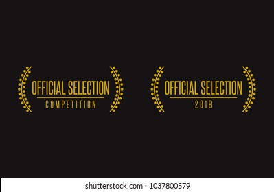 Official selection nomination prize winner film festival black gold vector icon set