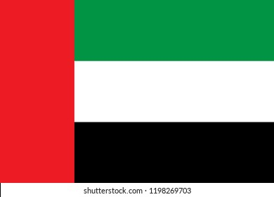 Official vector flag of united arab emirates. Eps.10