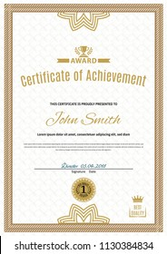 Official white certificate of a4 format with beige border, Official simple blank.