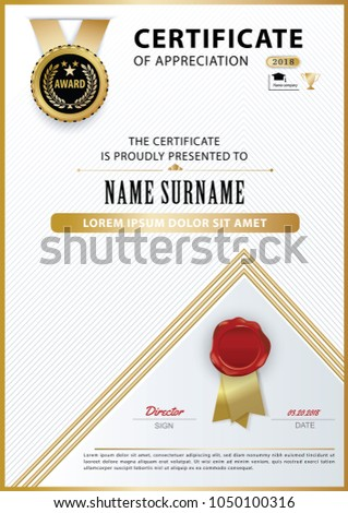 Official White Certificate Appreciation Award Template Stock Vector