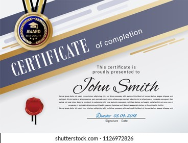 Official white certificate with blue gold stripes, education design elements, graduatioin cap in emblem. Clean modern design.. Afstract background
