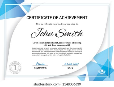 Official white certificate with blue triangle design elements, crown. Business clean modern design