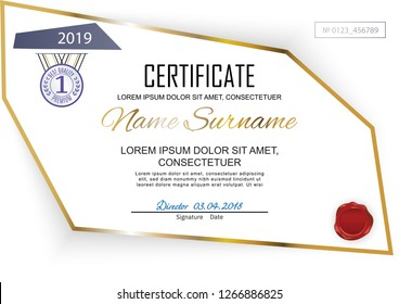Official white certificate with polygonal design elements. Business clean modern design.