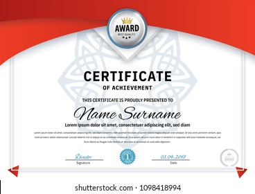 Official white certificate with red design elements, crown, silver emblem. Business clean modern design. Triangle elements