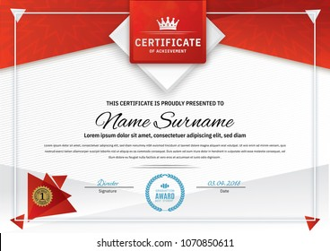 Official white certificate with red triangle design elements, crown. Business clean modern design. Triangle elements