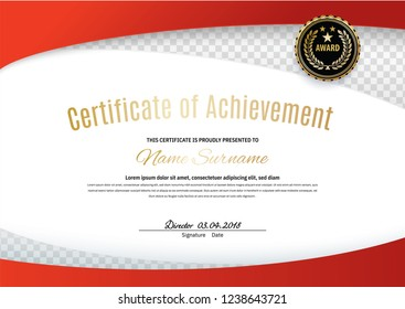 Official white certificate with red wave design elements, black emblem. Business clean modern design. White vector blank
