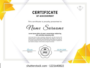 Official white certificate with yellow triangle design elements. Business clean modern design