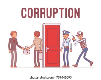 Officials arrested in corruption case. Dishonest and unethical, fraudulent political or businessmen conduct, police ready to catch. Vector line art business illustration