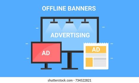 Offline marketing, banners, display, hoarding advertising flat vector illustration