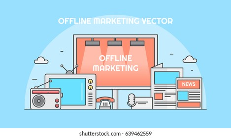 Offline marketing for business branding, tv advertising, pamphlets, telemarketing, radio ads, and billboards vector banner