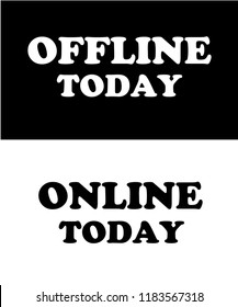 OFFLINE and ONLINE slogan graphic