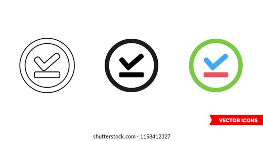 Offline pin icon of 3 types: color, black and white, outline. Isolated vector sign symbol.