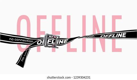 offline slogan with black belt illustration