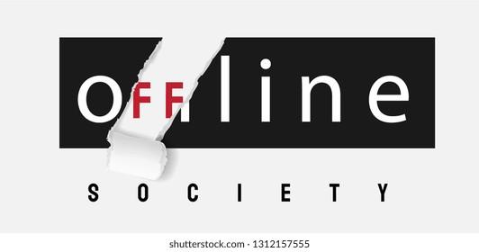 offline society sticker ripped off