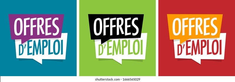 """Offres d'emploi"": ""Job offers"" in French language on speech bubble"