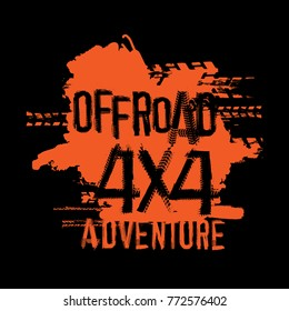 Off-Road 4x4 adventure hand drawn grunge lettering. Tire tracks words made from unique letters. Beautiful vector illustration. Editable graphic element in orange and black colours.