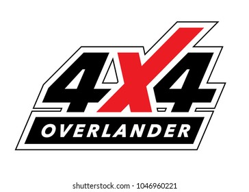 Off-road 4x4 all-terrain vehicle sticker design. Overland adventure travel logo decal. Vector illustration.