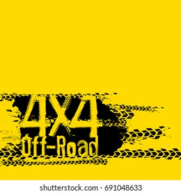 Off-Road 4x4 hand drawn grunge lettering on a bright yellow background. Tire tracks words made from unique letters. Beautiful vector illustration. Editable graphic element.