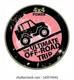 Off-road abstract sticker, vector illustration