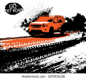 Off-road adventure poster. Vector illustration in modern style with textured grunge background. Landscape layout in black, orange and white colors useful for leaflet, placard or print design.