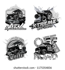 Off-Road ATV Buggy, Black and White Logo.