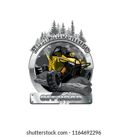 Off-Road ATV Buggy Logo, Bush Adventute.