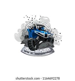 Off-Road ATV Buggy Logo, Smoke dirt ant dust.