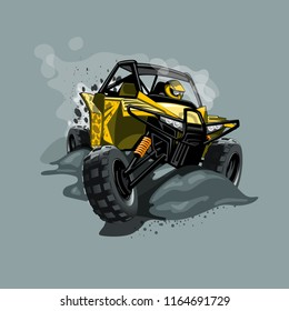 Off-Road ATV Buggy, rides through the mud. Yellow color.