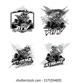 Off-Road ATV Quad Bike, Set of Logos Black and White.