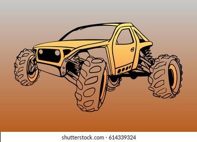 Offroad buggy vector sketch