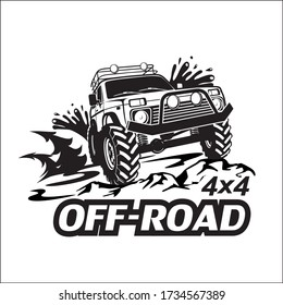 Offroad car 4x4. Monochrome template for labels, emblems, badges or logos.