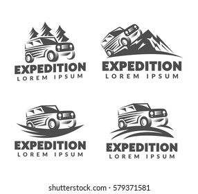 Off-road car logo. Off-road vehicle icon. Jeep off-road sign. Adventure, Travel, Expedition sign. Suv car emblems, badges. Fir-tree, Mountains, Nature sign.