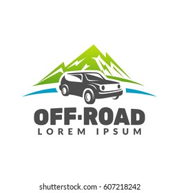 Off-road car with mountains vector logo. Off-road car logo. Off-road vehicle icon. Jeep off-road sign. Adventure, Travel, Expedition sign. Suv car emblems, badges. Fir-tree, Mountains, Nature sign.