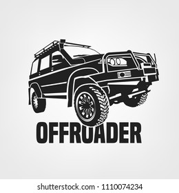Off-road car. Off-roading suv adventure, extreme competition emblem and car club element. Beautiful vector illustration in monochrome color isolated on a light background.