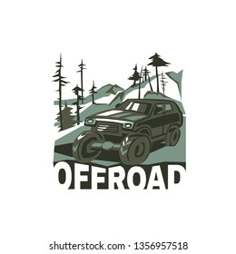 Off-road car. Off-roading suv adventure, extreme competition emblem and car club element. Beautiful vector illustration in green colors isolated on a white background.