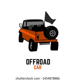 Off-road car. Off-roading suv adventure, extreme competition element for an emblem and car club design. Beautiful vector illustration in orange and black color isolated on a white background.