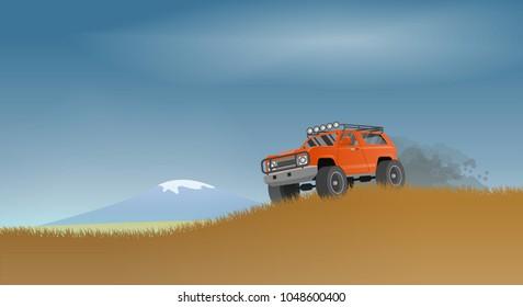 An off-road car rides along a grassy hillock. Vector illustration.