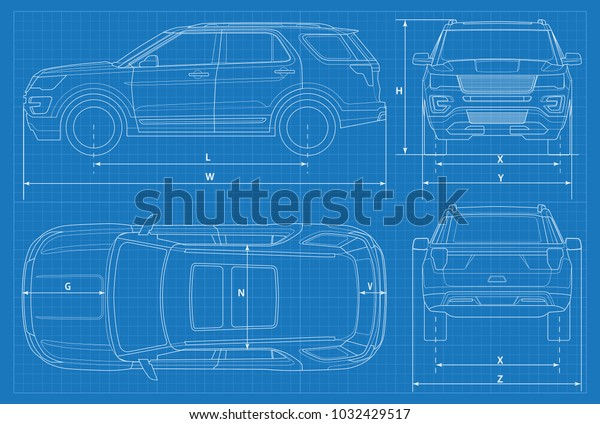 off-road car schematic or suv car blueprint  vector illustration  off road  vehicle