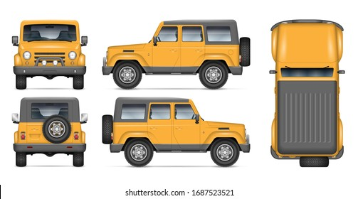 Offroad car vector mockup for vehicle branding, advertising, corporate identity. View from side, front, back, and top. All elements in the groups on separate layers for easy editing and recolor.