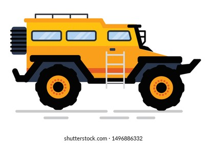 Off-road car in yellow color, side view of suv with stairs and trick, construction equipment. Automobile with big wheels, rally auto, transportation. Vector illustration in flat cartoon style