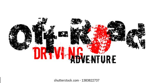 Off-Road drive hand drawn grunge lettering. Dust words made from unique letters. Beautiful vector illustration. Editable graphic element in black, red colors isolated on white background.