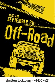 Off-road event poster. Vector illustration in modern style with hand drawn grunge lettering. Portrait layout in yellow and black colours useful for leaflet, placard or print design.