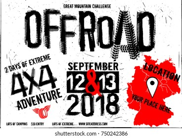 Off-road event vector poster. Beautiful illustration in modern style with hand drawn grunge lettering. Landscape layout in white, black and red colors useful for leaflet, placard or print design.